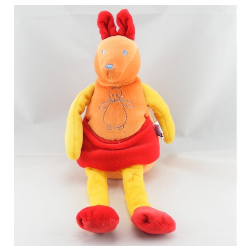 Doudou Kangourou orange rouge SUCRE D'ORGE