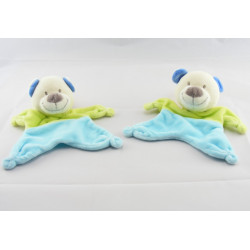 Doudou plat ours bleu vert Nicotoy