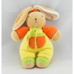 Doudou lapin jaune vert orange TAKINOU