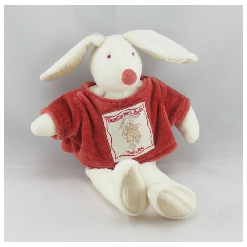 Doudou lapin blanc Martin mon lapin MOULIN ROTY