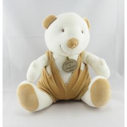 Doudou ours beige salopette blanche DOUDOU ET COMPAGNIE