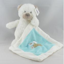 Doudou chien blanc avec doudou mouchoir bleu NICOTOY