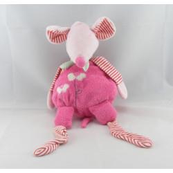 Doudou plat souris rose fleur écharpe verte ALOHA