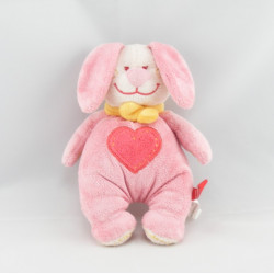 Doudou lapin rose coeur TEX NEUF