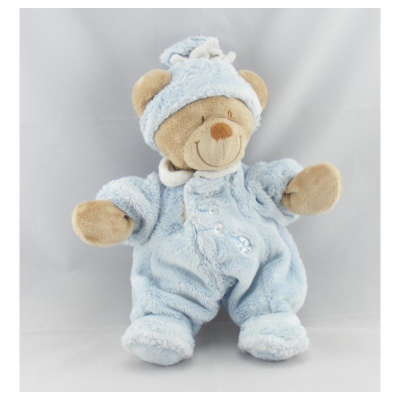 Doudou  ours bleu bonnet coccinelle brodée NICOTOY