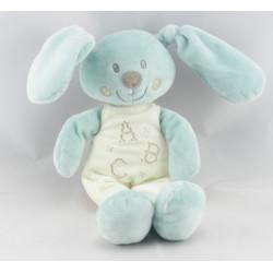 Doudou lapin bleu avec mouchoir ABC POMMETTE