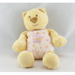 Doudou chat ours jaune rose fleurs AMTOYS BENGY