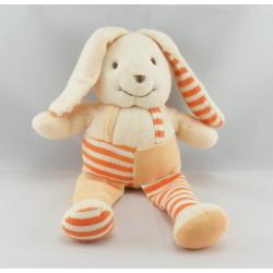 Doudou et compagnie lapin salopette rayure orange