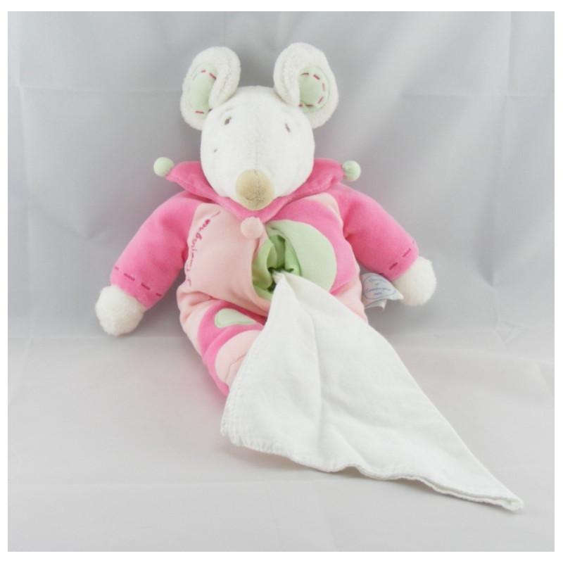 Doudou et compagnie souris rose Léonie avec mouchoir