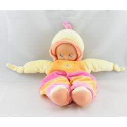 Doudou poupée verte salopette jaune rouge fleur NOUNOURS
