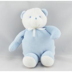 Doudou ours bleu clair blanc SUCRE D'ORGE