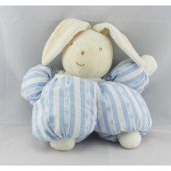 Doudou lapin blanc rayé bleu TARTINE ET CHOCOLAT