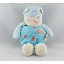 Doudou chat bleu poisson rouge DOUKIDOU
