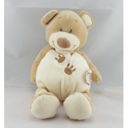 Doudou ours beige blanc pattes brodées DOUKIDOU