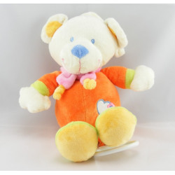 Doudou Plat rond ours orange coeur bleu NICOTOY