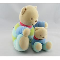 Doudou musical ours avec bébé orange bleu jaune KALOO