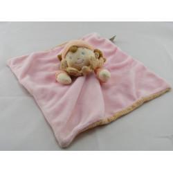 Doudou plat poupée fille fillette rose orange MOTS D'ENFANTS