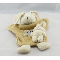Doudou et compagnie plat lapin bébé marron vichy beige