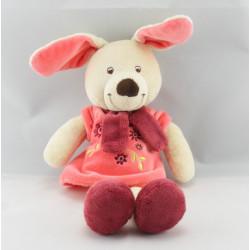 Doudou plat lapin rose fleurs brodées VETIR