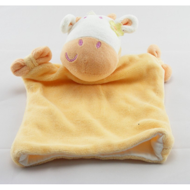 Doudou plat vache girafe jaune SIPLEC