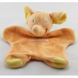 Doudou éléphant vert jaune orange mouchoir SUCRE D'ORGE