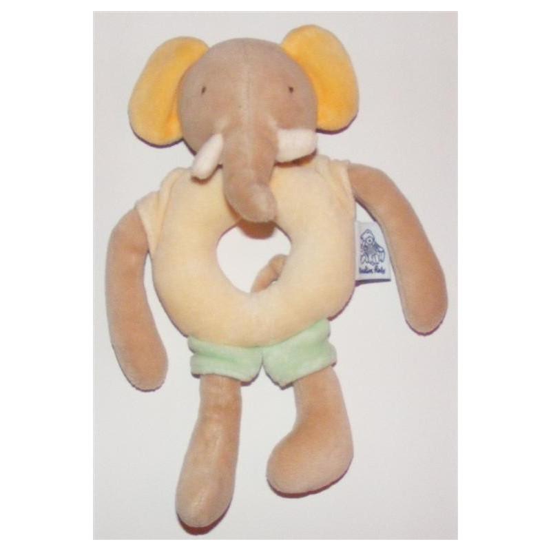 mini Doudou hochet éléphant les Loustics Moulin roty