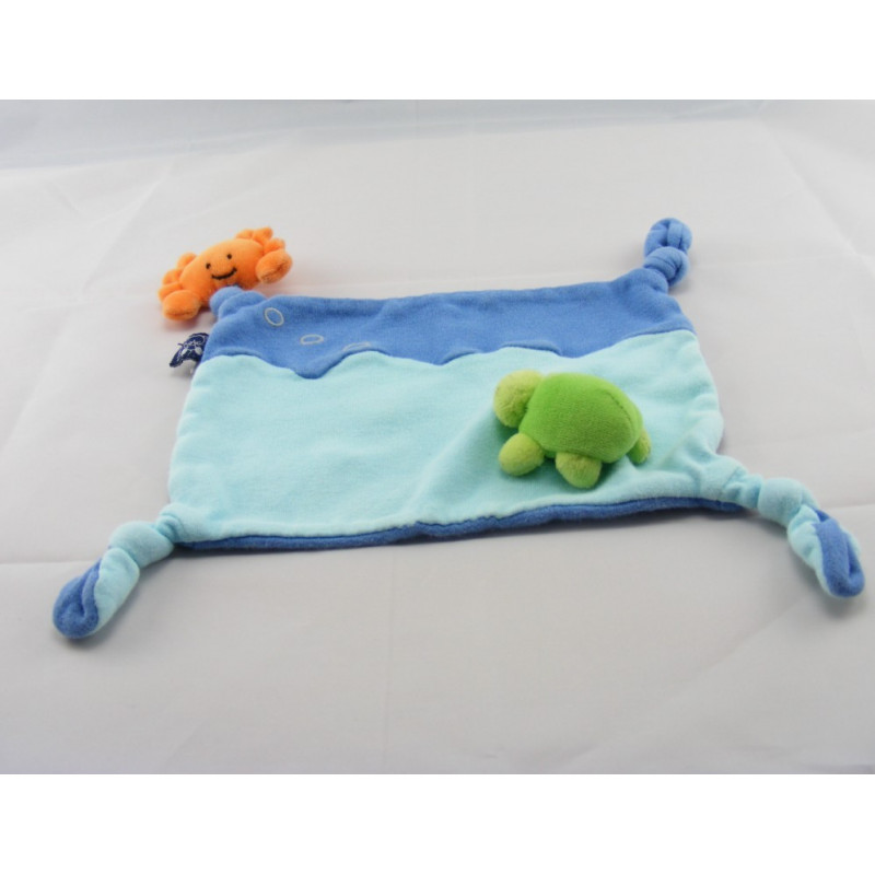 Doudou plat bleu vague crabe tortue SCRATCH
