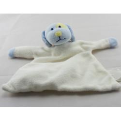 Doudou plat hochet lapin blanc bleu KIMBALOO