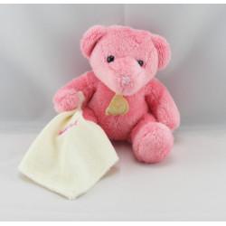 Doudou plat ours rose mouchoir Baby nat