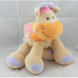 Doudou girafe vache beige taches orange rose NATTOU