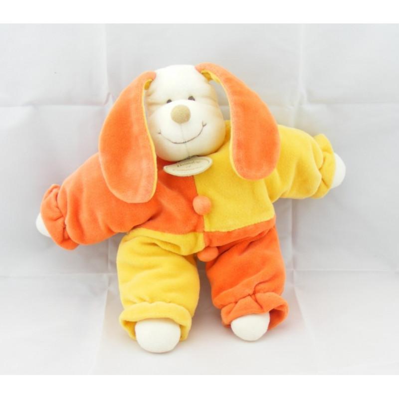 Doudou semi plat chien Patou jaune orange DOUDOU ET COMPAGNIE