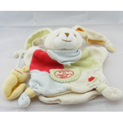Doudou plat marionnette lapin avec escargot tulipe brodé DOUDOU ET COMPAGNIE