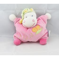 Doudou semi plat hippopotame rose Hyppo et Flo NATTOU