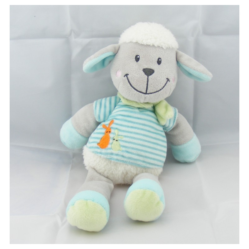 Doudou mouton pull rayé bleu lapins brodés NICOTOY