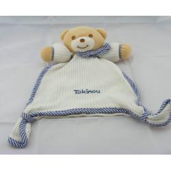 Doudou plat ours blanc bleu TAKINOU