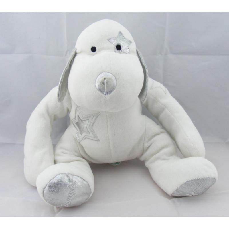 Doudou chien blanc argenté étoile DOUGLAS 2008