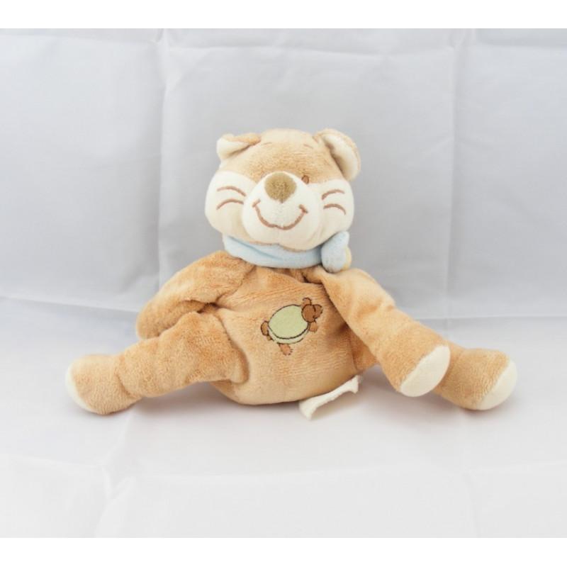 Doudou chat renard beige tortue brodé BENGY