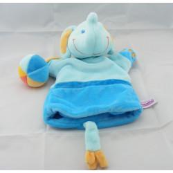 Doudou semi plat éléphant bleu orange POMMETTE