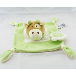 Doudou plat vache vert blanc fleur Dodo d'amour MGM