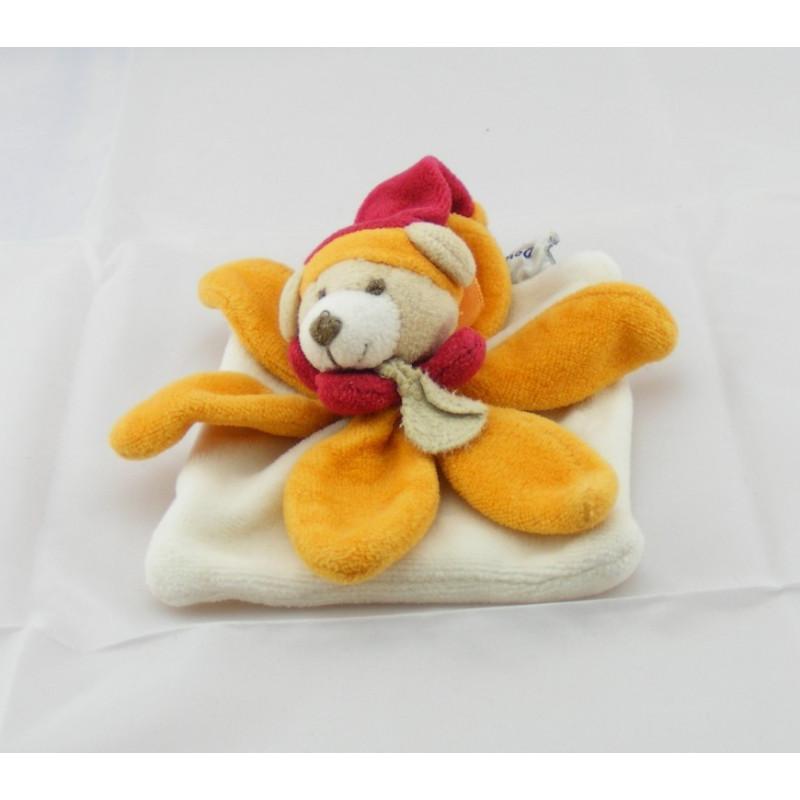 Mini Doudou et compagnie plat attache tétine ours arlequin orange