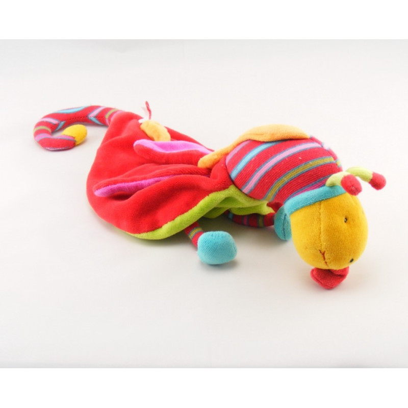 Doudou plat Dragon rouge vert Dragobert MOULIN ROTY