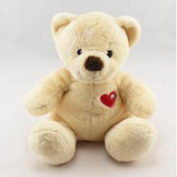 Doudou ours blanc pull coeur rouge NICOTOY