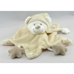 Doudou plat ours gris blanc jaune VETIR GEMO