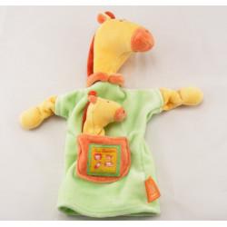 Doudou plat girafe verte jaune Les Loustics MOULIN ROTY