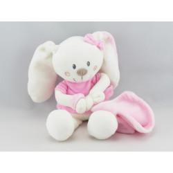 Doudou lapin rose gris avec mouchoir VETIR