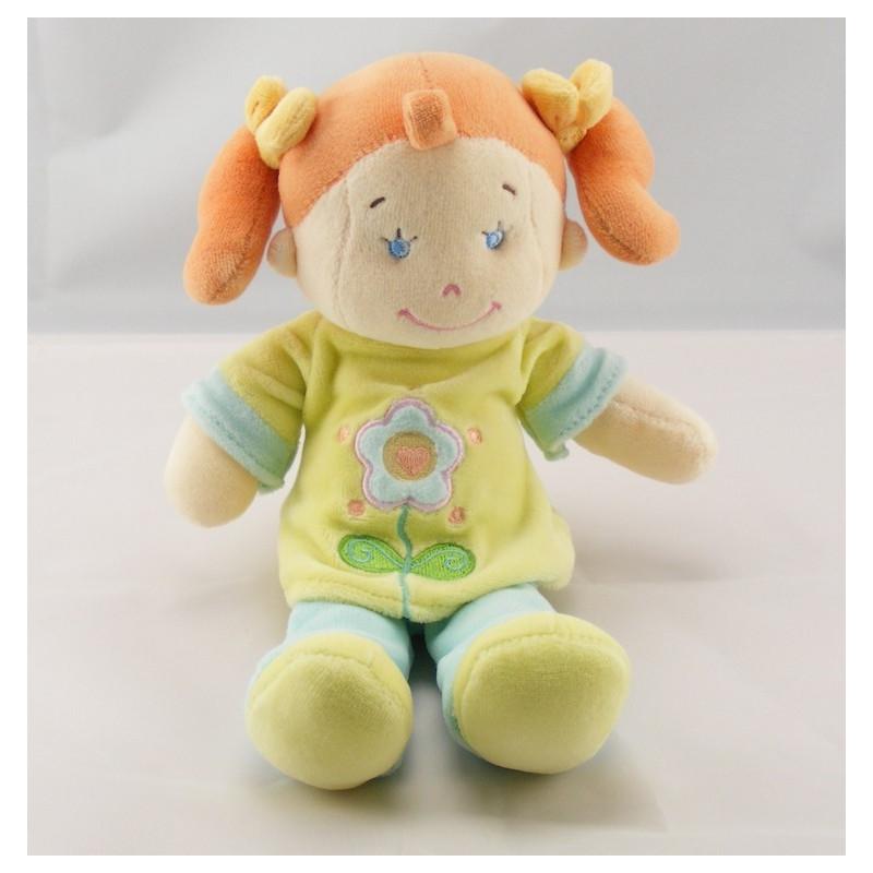 Doudou poupée fille tenue vert bleu fleurs cheveux roux NICOTOY