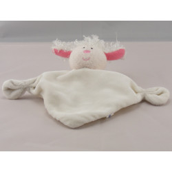 Mini Doudou plat agneau mouton blanc rose LUMINOU NEUF