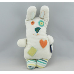 Doudou lapin blanc yeux boutons coeur SERGENT MAJOR