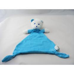 Doudou plat ours Musti bleu couverture Mustela