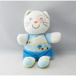 Doudou hochet chat bleu vert voiture NICOTOY KIABI